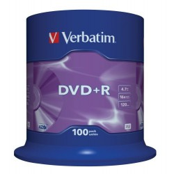 DVD+R Verbatim 16X 4.7GB. Tarrina 100 Unidades