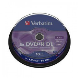 DVD+R Verbatim 8X 8.5GB. Tarrina 10 Unidades