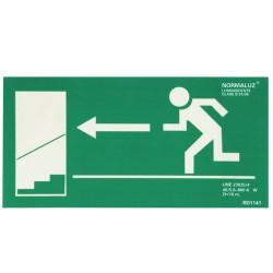 Cartel salida escalera izda.abajo 21x30