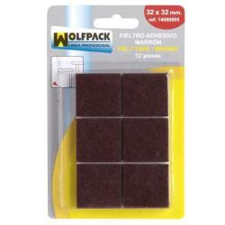 Fieltro adhesivo 32x32mm (bl.12p)marron