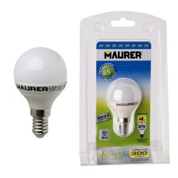 Bombilla led esfer.e14 4w -25w lumen 300