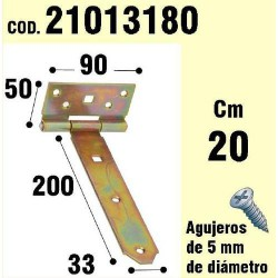 Soporte p/madera bisagra bicrom. 200 mm