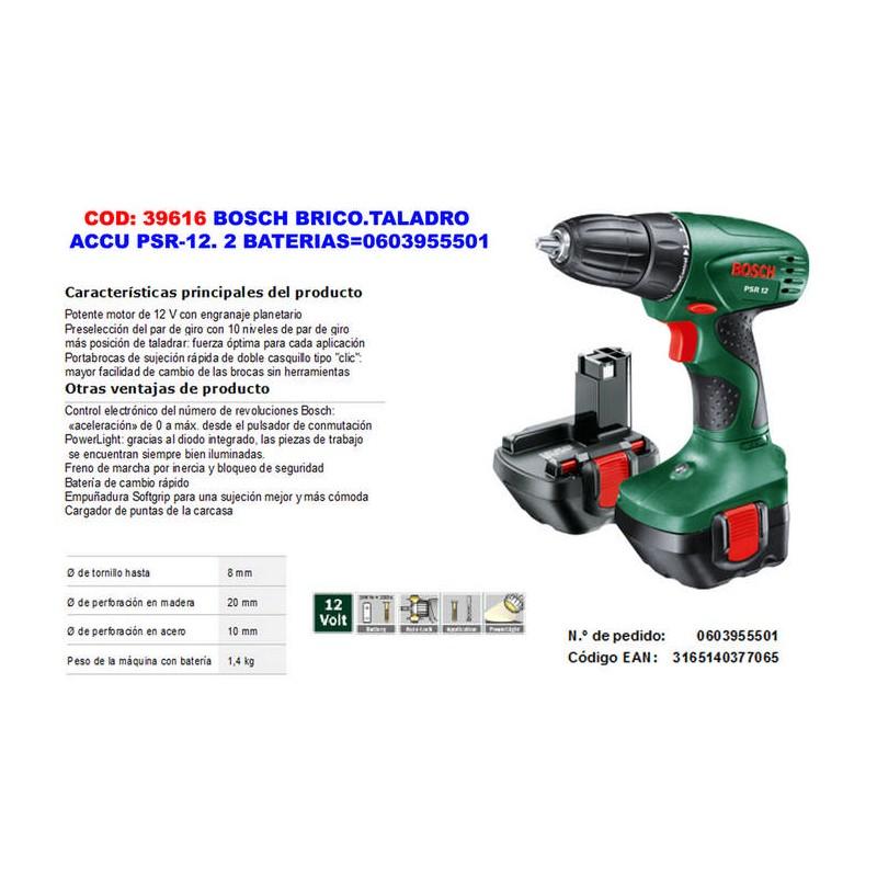 Taladro atornillador bosch accu psr 12 0 2 baterias - Taladros de bateria bosch ...