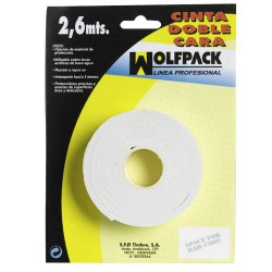 Cinta doble cara wolfpack 2,6mt.x18mm