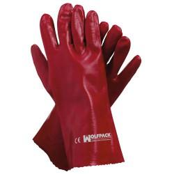 Guante wolfpack pvc rojo 35cm (par)
