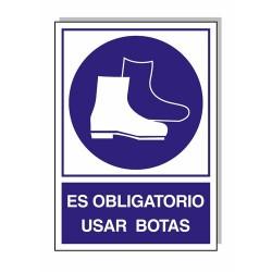 Cartel obligatorio uso de botas 30x21