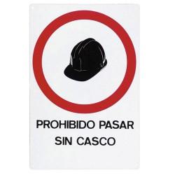 Cartel prohibido pasar sin casco 30x21