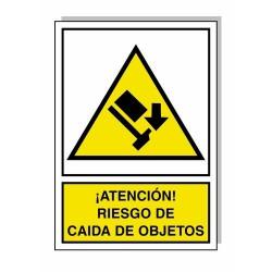 Cartel riesgo caida de objetos 30x21