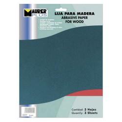 Lija madera maurer gr. 150 (pack 3 pli)