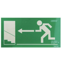 Cartel salida escalera izda.arriba 21x30