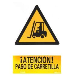 Cartel atencion paso carretilla 30x21