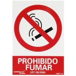 Cartel prohibido fumar 30x21