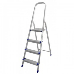 Escalera Aluminio Reforzada Doméstica 4 Peldaños Planos