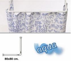 Barra p/cort.ducha alum.blanco 80x80cm