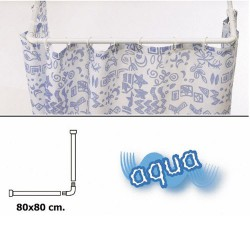 Barra p/cort.ducha universal alum.blanc